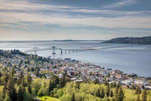 Astoria Oregon Cityscape with Astoria-Megler Bridge Scenic View