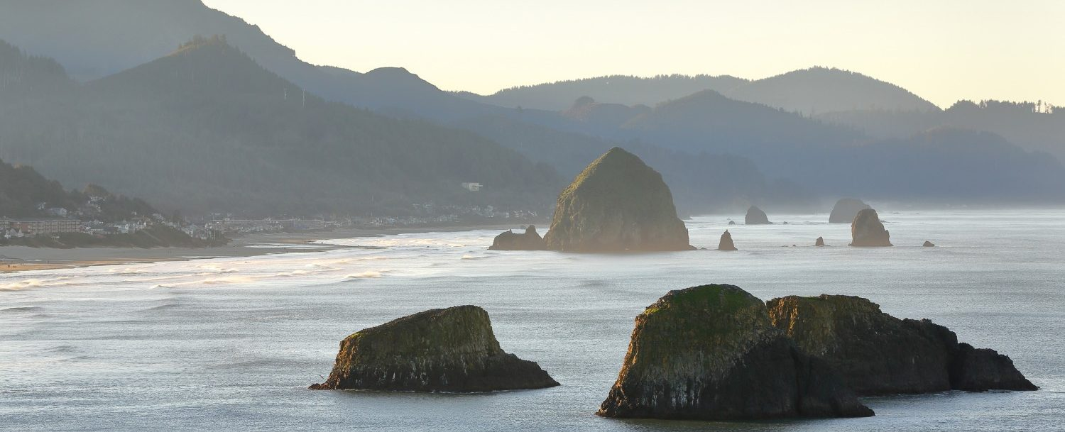Aerial view of Cannon Beach rock formations on the Pacific Coast Scenic Highway