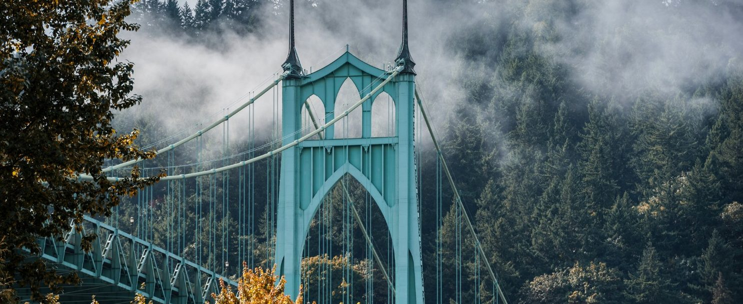 Portland bridge in the fog | Road trip from Portland to Oregon Coast